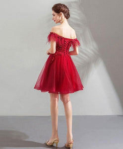 Unique Burgundy Tulle Short Prom Dress, Burgundy Homecoming Dress - DelaFur Wholesale