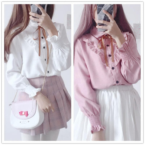 White/Pink Sweet Loose Long Sleeves Shirt SP1811758