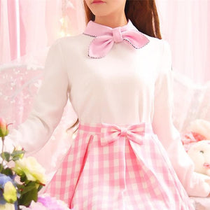 White/Pink Sweet Pastel Bow Tie Shirt SP1711241