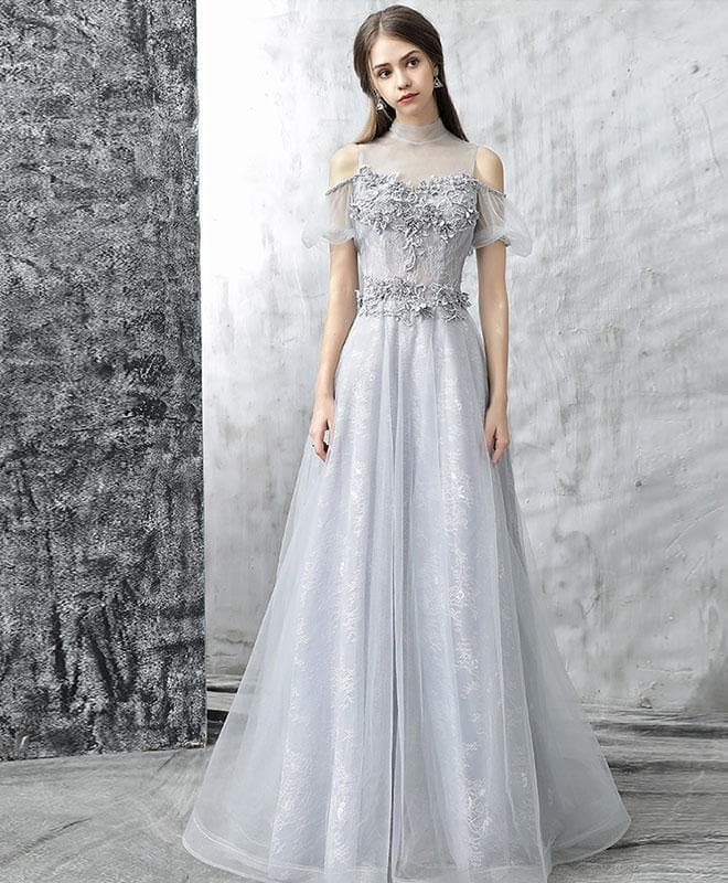 Gray Tulle Lace Long Prom Dress, Gray Evening Dress - DelaFur Wholesale