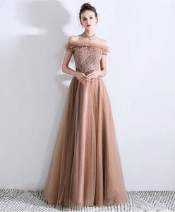 Champagne Tulle Lace Long Prom Dress, Tulle Evening Dress - DelaFur Wholesale