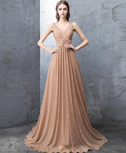 Load image into Gallery viewer, Unique Gold V Neck Tulle Long Prom Dress, Gold Tulle Evening Dress - DelaFur Wholesale