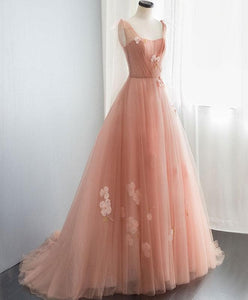 Pink V Neck Tulle Long Prom Dress, Tulle Evening Dress - DelaFur Wholesale