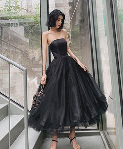 Black Tulle Short Prom Dress, Black Evening Dress - DelaFur Wholesale
