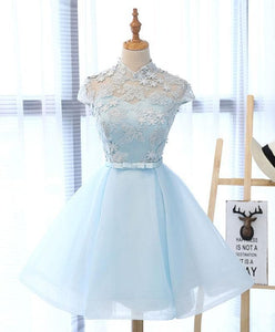 Light Blue Applique Short Prom Dress, Blue Homecoming Dress - DelaFur Wholesale