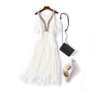 White V Neck Tulle Fashion Dress, Party Dress - DelaFur Wholesale