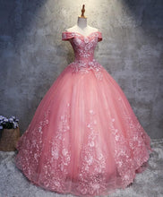 Load image into Gallery viewer, Pink Tulle Lace Off Shoulder Long Prom Dress Pink Tulle Evening Dress - DelaFur Wholesale