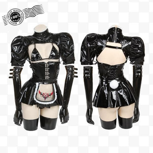 [Reservation] Gothic Maid Bunny Girl Patent Leather Lingerie Set EG0614