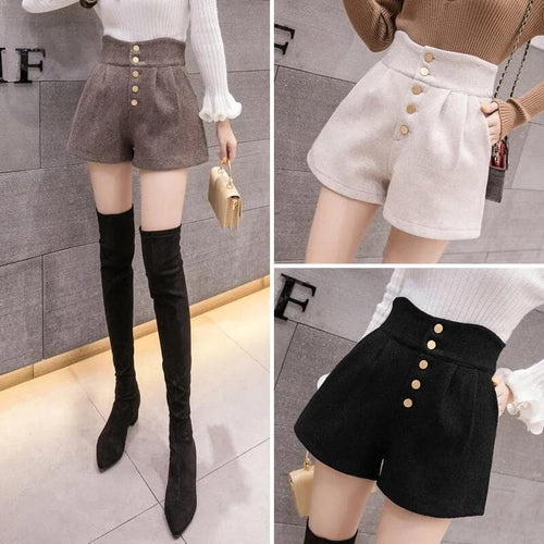 Black/Apricot/Khaki High Waist Woolen Shorts SP14673