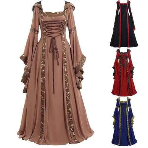 4 Colors Gothic Lace-Up Maxi Dress SS054
