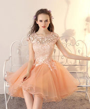 Load image into Gallery viewer, Champagne Tulle Lace Short Prom Dress, Champagne Homecoming Dress - DelaFur Wholesale