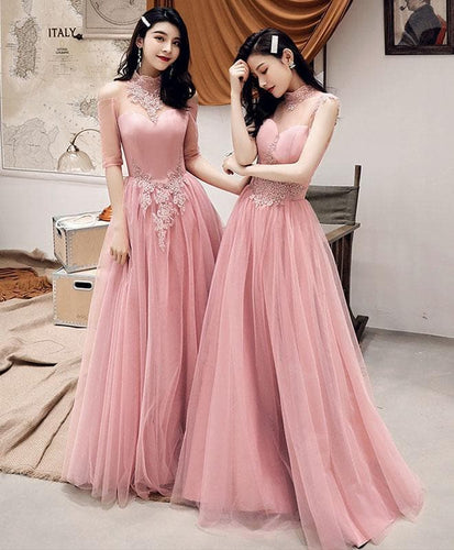 Pink Tulle Lace Long Prom Dress, Pink Tulle Lace Bridesmaid Dress - DelaFur Wholesale