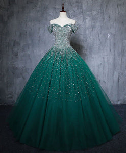 Green Tulle Sequin Long Prom Gown Green Sequin Sweet 16 Dress A039 - DelaFur Wholesale