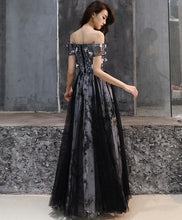 Load image into Gallery viewer, Black Tulle Lace Long Prom Dress, Black Tulle Evening Dress - DelaFur Wholesale