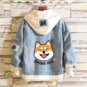 Shiba Inu Kawaii lovely Velvet Long-sleeved Hooded Demin Jacket SP14296