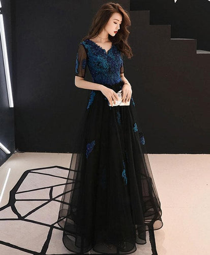 Black V Neck Tulle Lace Long Prom Dress, Black Evening Dress - DelaFur Wholesale