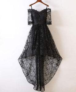 Black High Low Lace Prom Dress, Black Homecoming Dress - DelaFur Wholesale