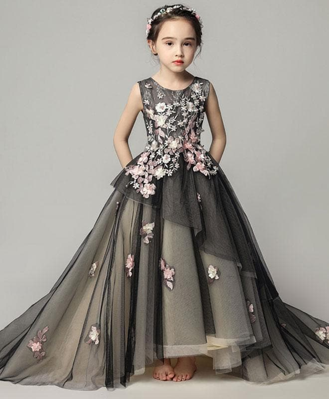 Black Tulle Lace Girl Dress, Birthday Dress - DelaFur Wholesale