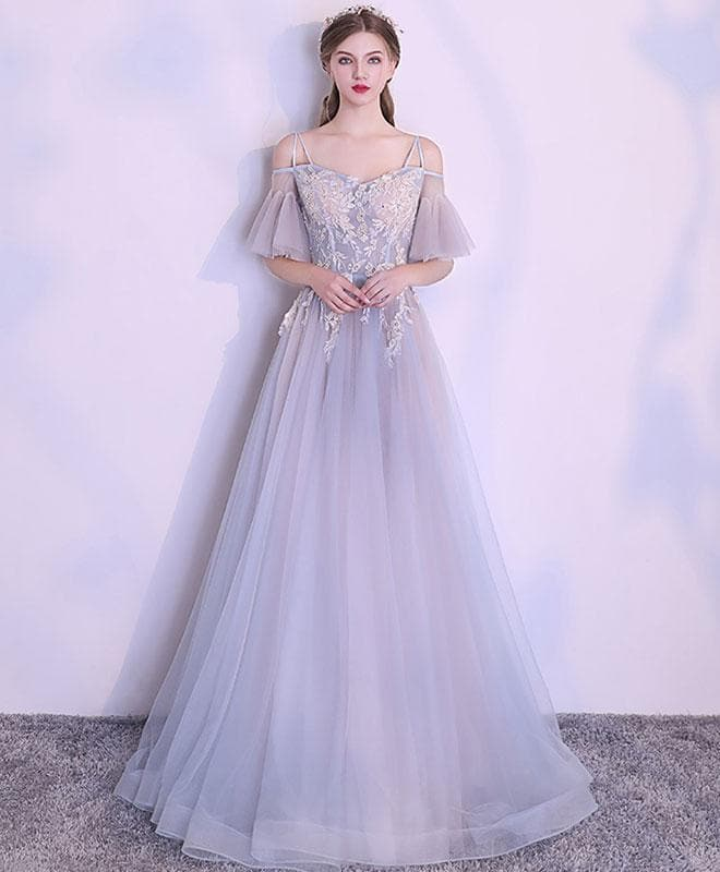 Unique Gray Tulle Lace Applique Long Prom Dress, Gray Evening Dress - DelaFur Wholesale