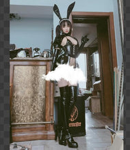 Load image into Gallery viewer, [Reservation] Gothic Maid Bunny Girl Patent Leather Lingerie Set SP154