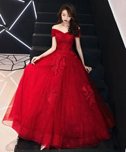 Load image into Gallery viewer, Unique Burgundy Off Shoulder Lace Long Prom Dress, Tulle Lace Evening Dress - DelaFur Wholesale