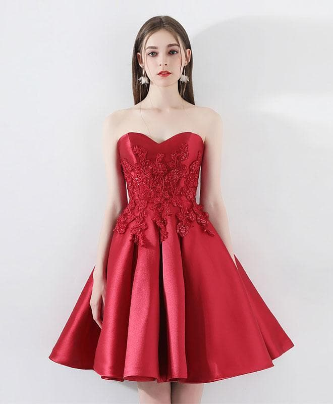 Burgundy Lace Short Prom Dress, Burgundy Homecoming Dress - DelaFur Wholesale