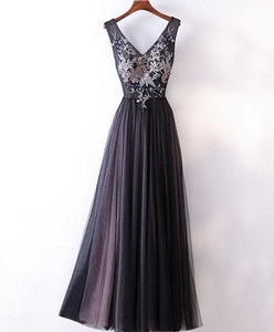 Black V Neck Lace Applique Tulle Long Prom Dress, Black Evening Dress - DelaFur Wholesale