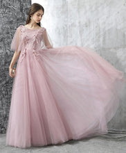Load image into Gallery viewer, Elegant Pink Lace Tulle Long Prom Dress, Tulle Evening Dress - DelaFur Wholesale
