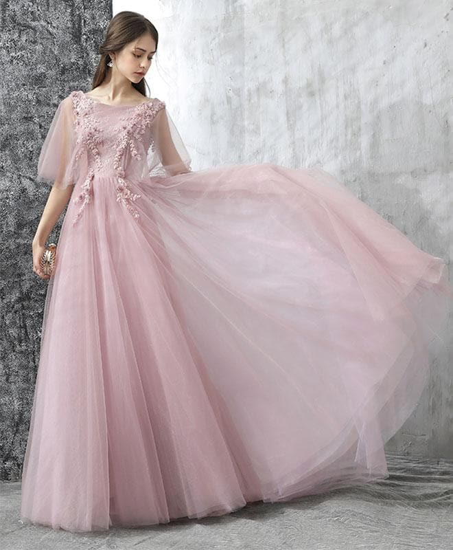 Elegant Pink Lace Tulle Long Prom Dress, Tulle Evening Dress - DelaFur Wholesale