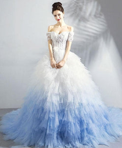 Unique Sweetheart Tulle Blue Long Prom Dress, Blue Evening Dress - DelaFur Wholesale