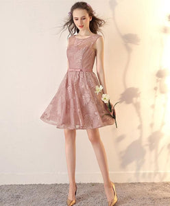 Pink Lace Short Prom Dress, Pink Short Bridesmaid Dress - DelaFur Wholesale