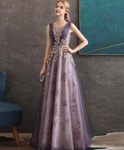 Purple Round Neck Tulle Lace Long Prom Dress Purple Evening Dress - DelaFur Wholesale