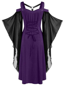 Chiffon Batwing Sleeve Lace-up Harness Insert High Low Dress SP15708