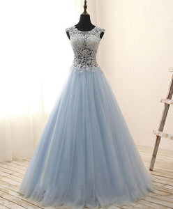 Unique Round Neck Tulle Lace Long Prom Dress, Evening Dress - DelaFur Wholesale