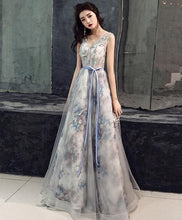 Load image into Gallery viewer, Gray V Neck Tulle Long Prom Dress, Gray Tulle Evening Dress - DelaFur Wholesale