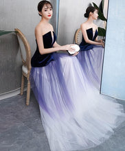 Load image into Gallery viewer, Simple V Neck Tulle Purple Long Prom Dress, Purple Evening Dress - DelaFur Wholesale