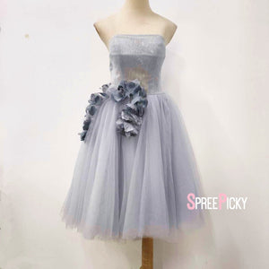 Grey Sweet Flower Tulle Party Dress SP14433