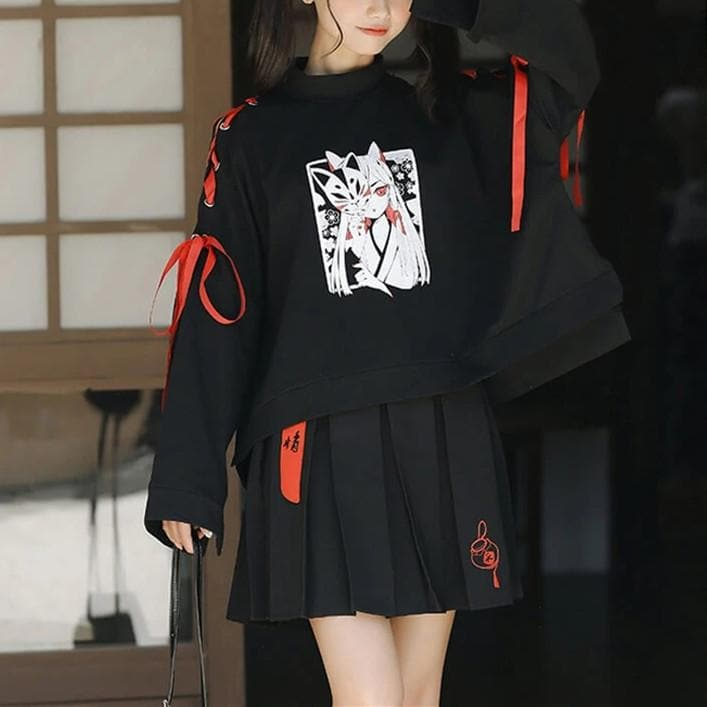 Japanese Monster Fox Sweatshirt Skirt Set SP14712