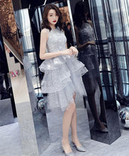 Load image into Gallery viewer, Gray Tulle Lace Short Prom Dress, Gray Tulle Homecoming Dress - DelaFur Wholesale
