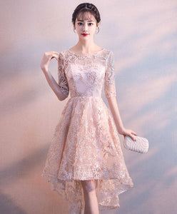 Pink Round Neck Lace Short Prom Dress, Pink Homecoming Dress - DelaFur Wholesale