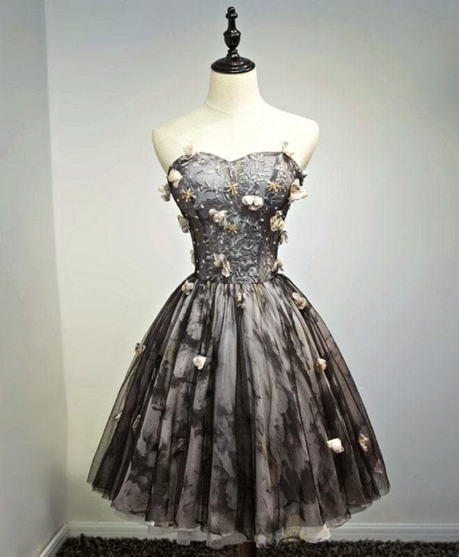 Black Lace Tulle Short Prom Dress, Black Homecoming Dress - DelaFur Wholesale