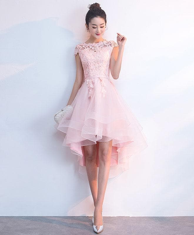 Pink Tulle Lace Short Prom Dress, Pink Tulle Homecoming Dress - DelaFur Wholesale