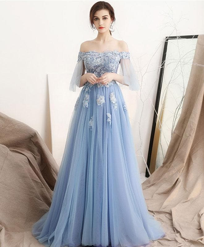 Unique Blue Off Shoulder Tulle Long Prom Dress, Blue Evening Dress - DelaFur Wholesale