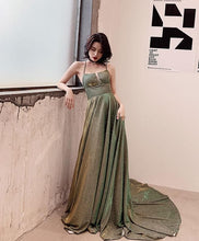 Load image into Gallery viewer, Unique Backless Long Prom Dress, Green Evening Dress - DelaFur Wholesale