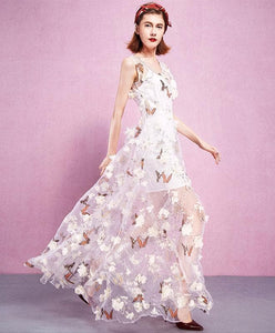 White V Neck Tulle 3D Applique Long Prom Dress, White Evening Dress - DelaFur Wholesale