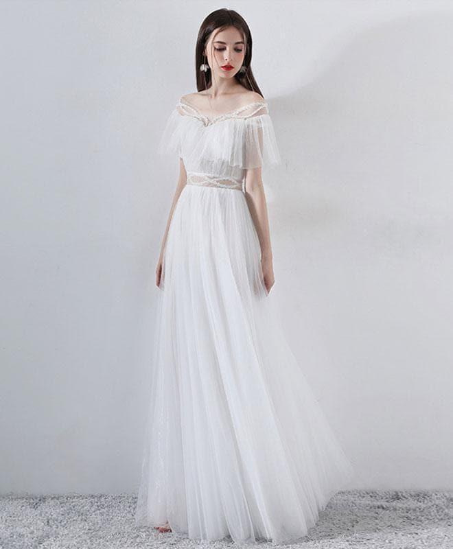 White A-Line Tulle Long Prom Dress, White Evening Dress - DelaFur Wholesale