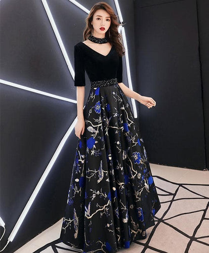 Black V Neck Satin Long Prom Dress, Black Evening Dress - DelaFur Wholesale