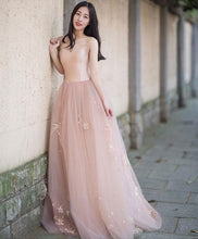 Load image into Gallery viewer, Simple Pink Tulle Long Prom Dress, Pink Tulle Formal Dress - DelaFur Wholesale