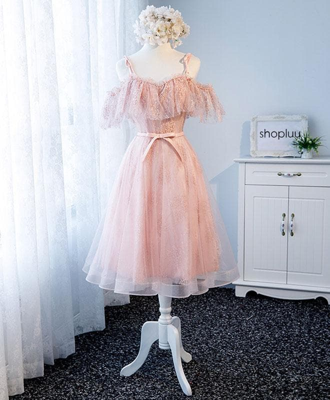Pink Sweetheart Tulle Lace Short Prom Dress, Pink Homecoming Dress - DelaFur Wholesale