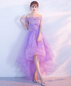 Purple Tulle Lace Applique Prom Dress, Purple Homecoming Dress - DelaFur Wholesale